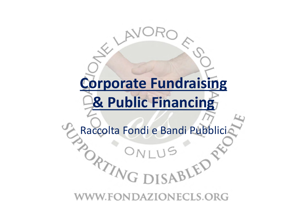 Corporate Fundraising & Public Financing